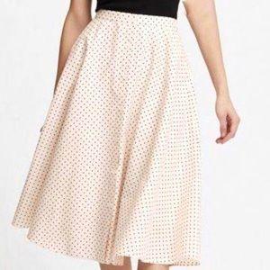 Uniqlo Cream Black Dot Front Button Circular Skirt